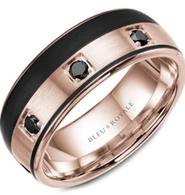Bleu Royal Rose Gold Band with Black Diamonds and Black Carbon Accents