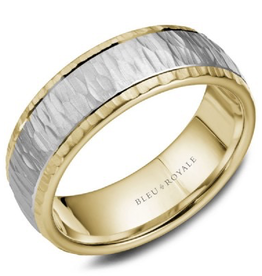 Yellow Gold Band with a Textured White Gold Centre