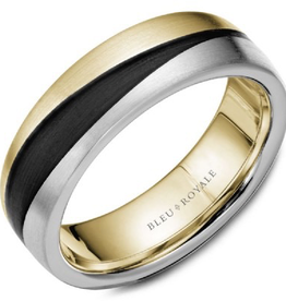 Bleu Royal Brushed Yellow and White Gold Band with Black Carbon Accents