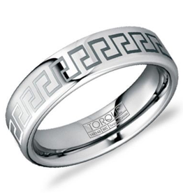 Torque Tungsten Carbide (6mm) with Greek Key Design Band