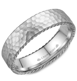 Crown Ring White Gold Hammered and Rope 6mm Men's Wedding Band