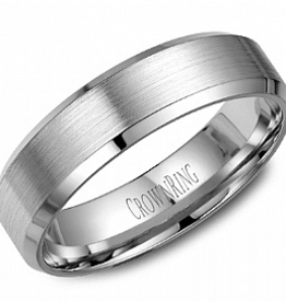 Crown Ring Bevelled (6mm) White Gold Brushed Band