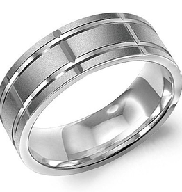 Crown Ring Crown Ring White Gold Textured Sandblast 8mm Men's Wedding Band