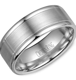 Crown Ring Crown Ring White Gold Sandblast 8mm Men's Wedding Band