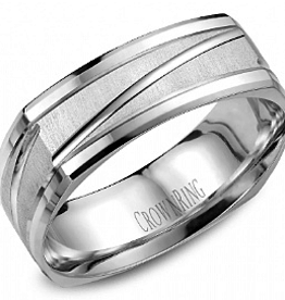 Crown Ring Crown Ring White Gold Soft Square 7mm Finish Men's Wedding Band