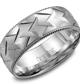 Crown Ring Crown Ring White Gold Weave Patterned 8mm Men's Wedding Band