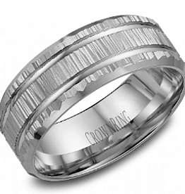 Crown Ring Crown Ring White Gold Bark Finish 8mm Men's Wedding Band