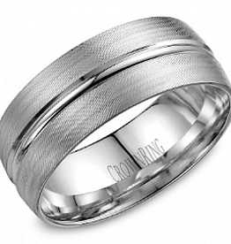 Crown Ring White Gold Band with Textured Center Finish (8mm)
