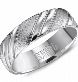 Crown Ring Crown Ring White Gold Carved Pattern 6mm Men's Wedding Band