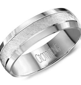 Crown Ring Crown Ring White Gold Textured 6mm Men's Wedding Band