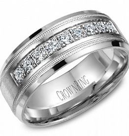 Crown Ring Crown Ring 8mm White Gold Milgrain Mens Diamond Band (0.45ct)