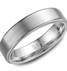 Crown Ring Crown Ring White Gold 5.5mm Flat Brushed Men's Wedding Band