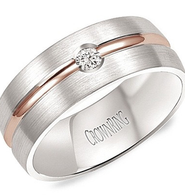 Crown Ring 8mm White Gold Diamond Band with Rose Gold Ridge 0.10ct.