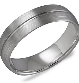 Crown Ring Crown Ring White Gold Brushed Men's Wedding Band