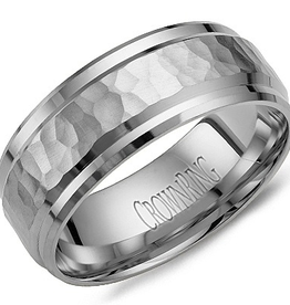 Crown Ring Hammered White Gold Band