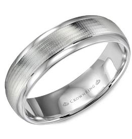 Crown Ring Crown Ring White Gold Textured Center 8mm Men's Wedding Band