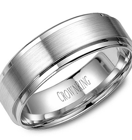 Crown Ring Crown Ring White Gold Beveled Brushed 7mm Men's Wedding Band