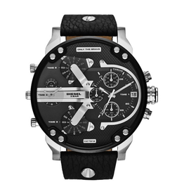 Diesel Daddies Black Lather Strap Watch