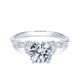 Gabriel & Co Gabriel and Co 14K White Gold Round Diamond Engagement Ring