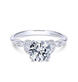 Gabriel & Co Gabriel and Co Celia 14K White Gold Round Diamond Semi Mount Engagement Ring