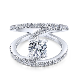 Gabriel & Co Gabriel & Co 14K White Gold Round Split Shank Diamond Engagement Ring