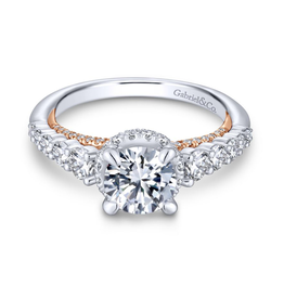 Gabriel & Co Gabriel & Co Cecilia 14K White and Rose Gold Round Diamond Hidden Halo Semi Mount Engagement Ring