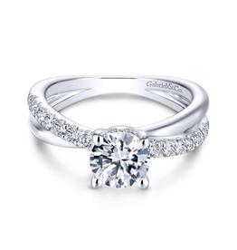 Gabriel & Co Gabriel & Co Elliana 14K White Gold Hidden Halo Round Diamond Semi Mount Engagement Ring