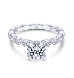 Gabriel & Co Gabriel & Co Lula 14K White Gold Hidden Halo Round Diamond Semi Mount Engagement Ring