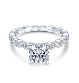 Gabriel & Co Gabriel & Co Lula 14K White Gold Round Diamond Semi Mount Engagement Ring