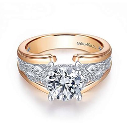 Gabriel & Co Albany - 14k White/Rose Gold Round Twisted Mount