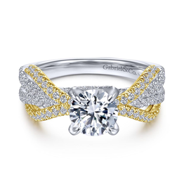 Gabriel & Co Gabriel & Co Starlet 14K White and Yellow Gold Round Diamond Semi Mount Engagement Ring