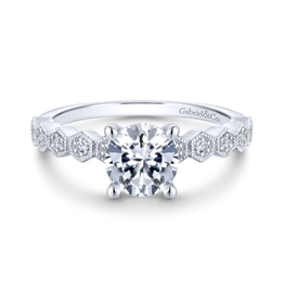 Gabriel & Co Gabriel & Co 14K White Gold Cushion Cut Diamond Mount Engagement Ring