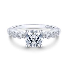 Gabriel & Co Gabriel & Co Dawson 14K White Gold Hidden Halo Round Diamond Semi Mount Engagement Ring