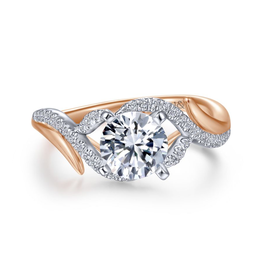 Gabriel & Co Gabriel & Co Nakia 14K Rose and White Gold Round Diamond Semi Mount Engagement Ring