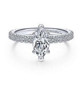 Gabriel & Co Gabriel & Co Alina 14K White Gold Hidden Halo Marquise Shape Diamond Semi Mount Engagement Ring