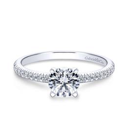 Gabriel & Co Gabriel & Co Oyin 14K White Gold Round Diamond Semi Mount Engagement Ring