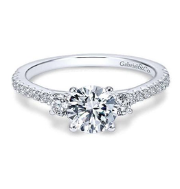 Gabriel & Co Gabriel & Co 14K White Gold Round Three Stone Diamond Engagement Ring