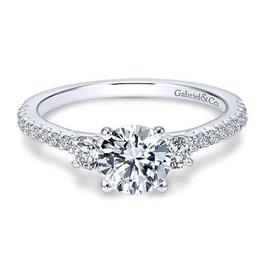 Gabriel & Co Gabriel & Co Cherize 14K White Gold Round Three Stone Diamond Semi Mount Engagement Ring