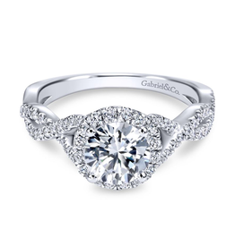 Gabriel & Co Gabriel & Co 14K White Gold Round Halo Diamond Engagement Ring