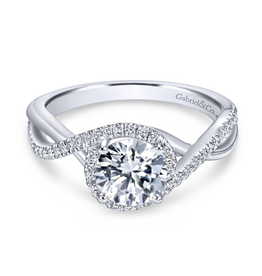 Gabriel & Co Gabriel & Co 14K White Gold Round Halo Diamond Mount Engagement Ring