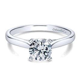 Gabriel & Co Gabriel & Co Shannon 14K White Gold (0.75ct) Round Moissanite Solitaire Engagement Ring