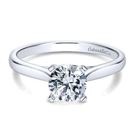Gabriel & Co Shannon 14K White Gold (0.75ct) Round Moissanite Solitaire Engagement Ring