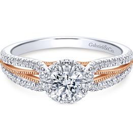 Gabriel & Co Calypso 14k White/Rose Gold Round Halo