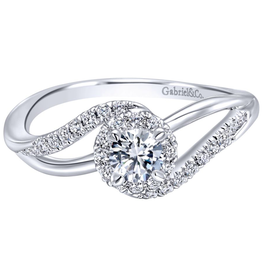 Gabriel & Co Gabriel & Co 14K White Gold Round Halo Bypass Complete Diamond Engagement Ring