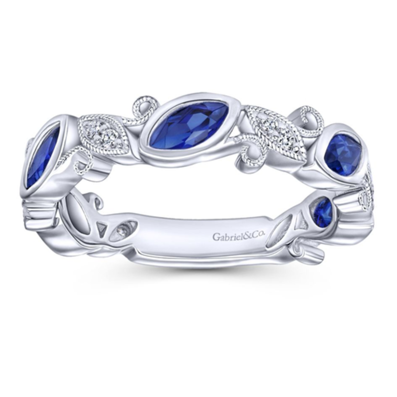 Gabriel & Co Gabriel & Co 14K White Gold Stackable Sapphire and Diamond Ring