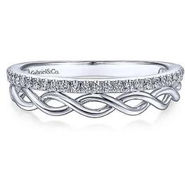 Gabriel & Co Gabriel & Co 14K White Gold Braided and Diamond Row Ring