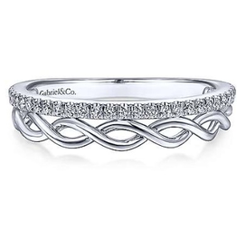 Gabriel & Co Gabriel & Co 14K White Gold Braided Metal and Diamond Row Ring