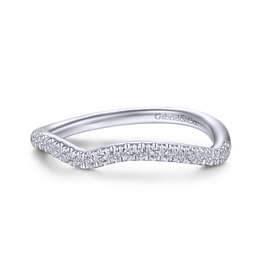 Gabriel & Co Gabriel & Co 14K White Gold (0.14ct) Diamond Curved Wedding Band