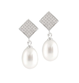 Sterling Silver Rice Pearl CZ Dangle Earrings