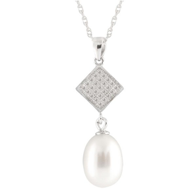Sterling Silver Freshwater Rice Pearl CZ Dangle Necklace